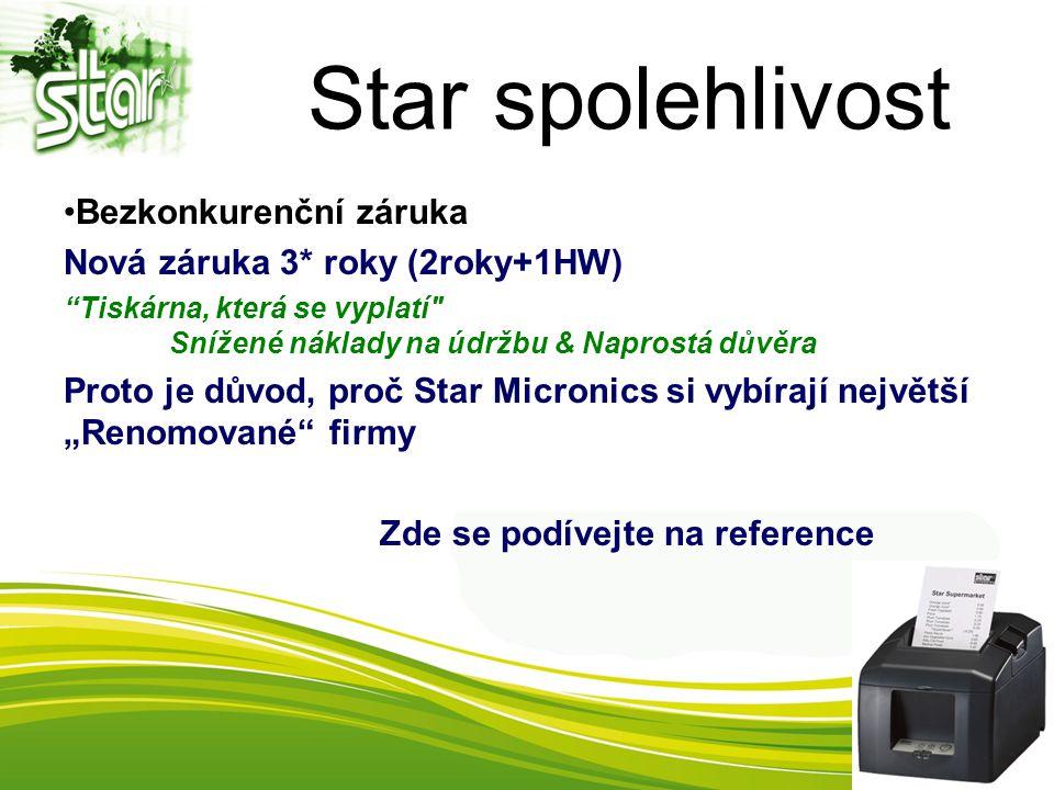 """Star spolehlivost Bezkonkurenční záruka Nová záruka 3* roky (2roky+1HW) Tiskárna, která se vyplatí Snížené náklady na údržbu & Naprostá důvěra Proto je důvod, proč Star Micronics si vybírají největší """"Renomované firmy Zde se podívejte na reference"""