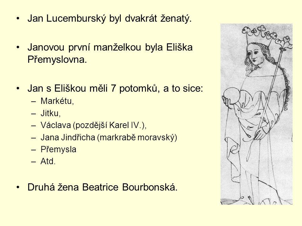 Jan Lucemburský byl dvakrát ženatý. Janovou první manželkou byla Eliška Přemyslovna. Jan s Eliškou měli 7 potomků, a to sice: –Markétu, –Jitku, –Václa
