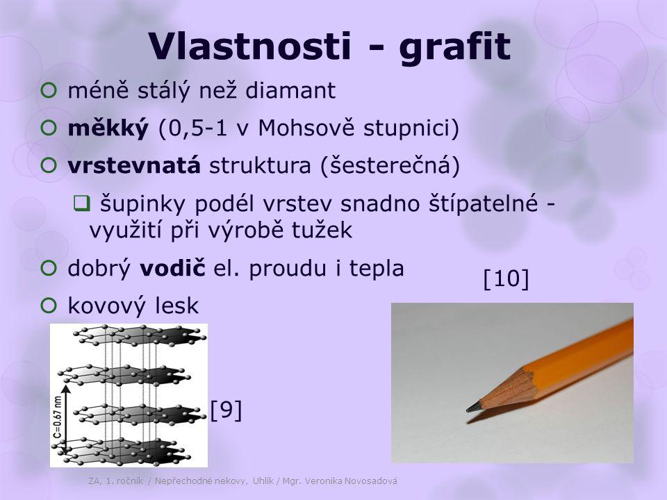 Vlastnosti - grafit  méně stálý než diamant  měkký (0,5-1 v Mohsově stupnici)  vrstevnatá struktura (šesterečná)  šupinky podél vrstev snadno štíp