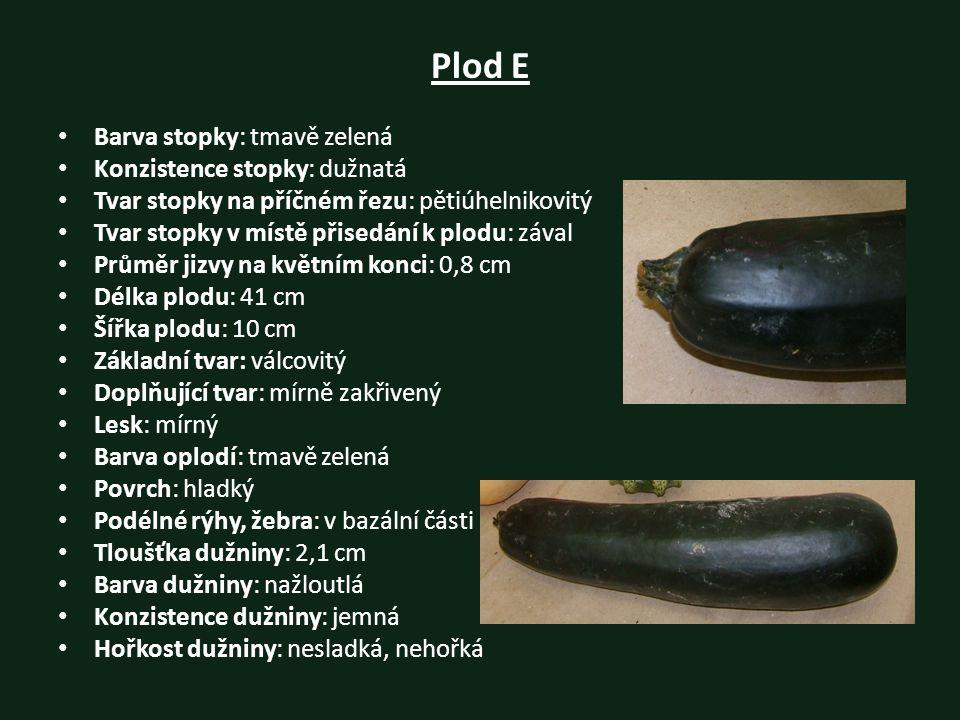Plod E Barva stopky: tmavě zelená Konzistence stopky: dužnatá Tvar stopky na příčném řezu: pětiúhelnikovitý Tvar stopky v místě přisedání k plodu: záv