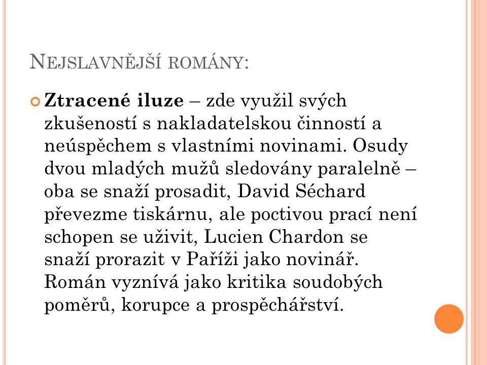 N EJSLAVNĚJŠÍ ROMÁNY : Ztracené iluze – zde využil svých zkušeností s nakladatelskou činností a neúspěchem s vlastními novinami.