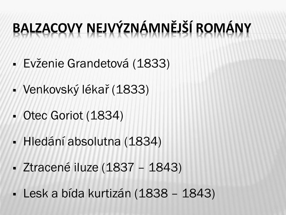  Evženie Grandetová (1833)  Venkovský lékař (1833)  Otec Goriot (1834)  Hledání absolutna (1834)  Ztracené iluze (1837 – 1843)  Lesk a bída kurtizán (1838 – 1843) 10