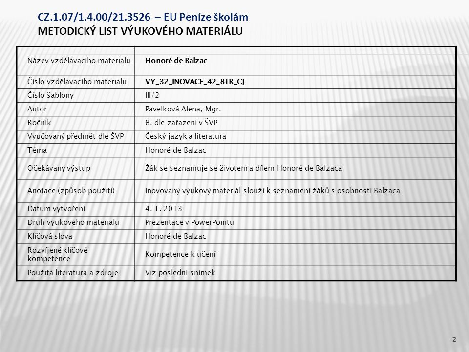 Název vzdělávacího materiáluHonoré de Balzac Číslo vzdělávacího materiáluVY_32_INOVACE_42_8TR_CJ Číslo šablonyIII/2 AutorPavelková Alena, Mgr.