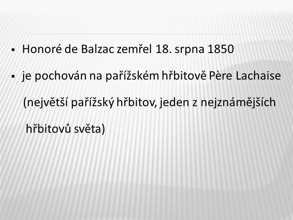  Honoré de Balzac zemřel 18.