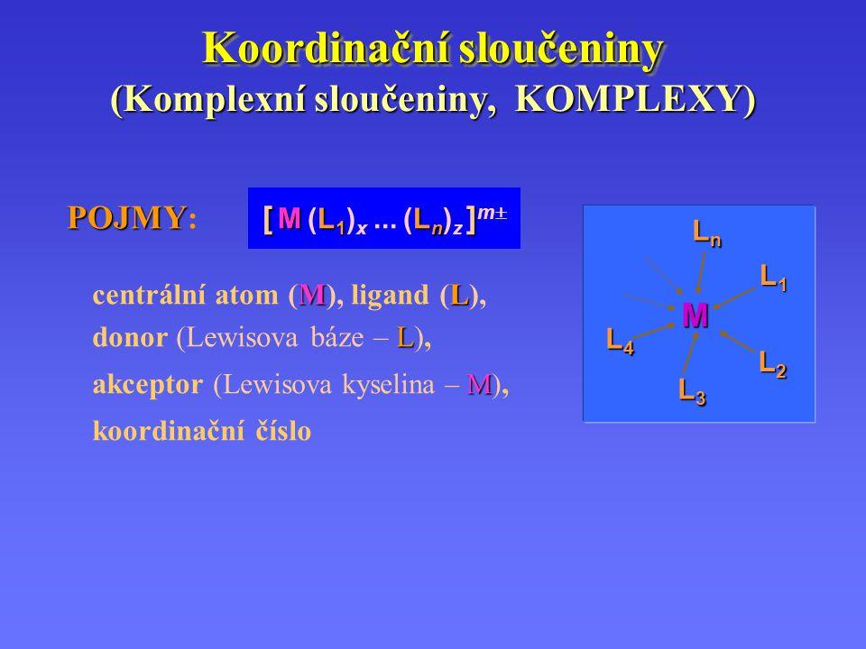 Koordinační sloučeniny POJMY [ ML 1 L n ] POJMY : [ M (L 1 ) x... (L n ) z ] m  (Komplexní sloučeniny, KOMPLEXY) M L1L1L1L1 L2L2L2L2 L3L3L3L3 L4L4L4L