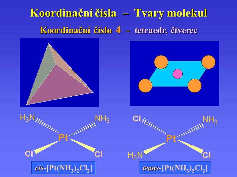 Koordinační čísla – Tvary molekul Koordinační Koordinační číslo číslo 4 –tetraedr, čtverec cis cis-[Pt(NH 3 ) 2 Cl 2 ] trans trans-[Pt(NH 3 ) 2 Cl 2 ]