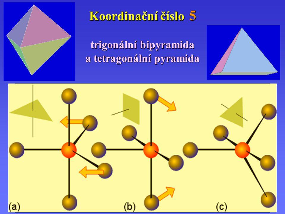 (a) (b)(b)(b)(b) Koordinační číslo 5 trigonální bipyramida a tetragonální pyramida (a) Přechod trigonální bipyramidy (a) (b) na tetragonální pyramidu