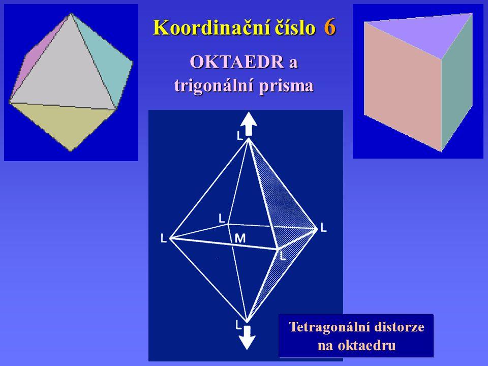 Koordinační číslo 6 OKTAEDR a trigonální prisma Tetragonální distorze na oktaedru