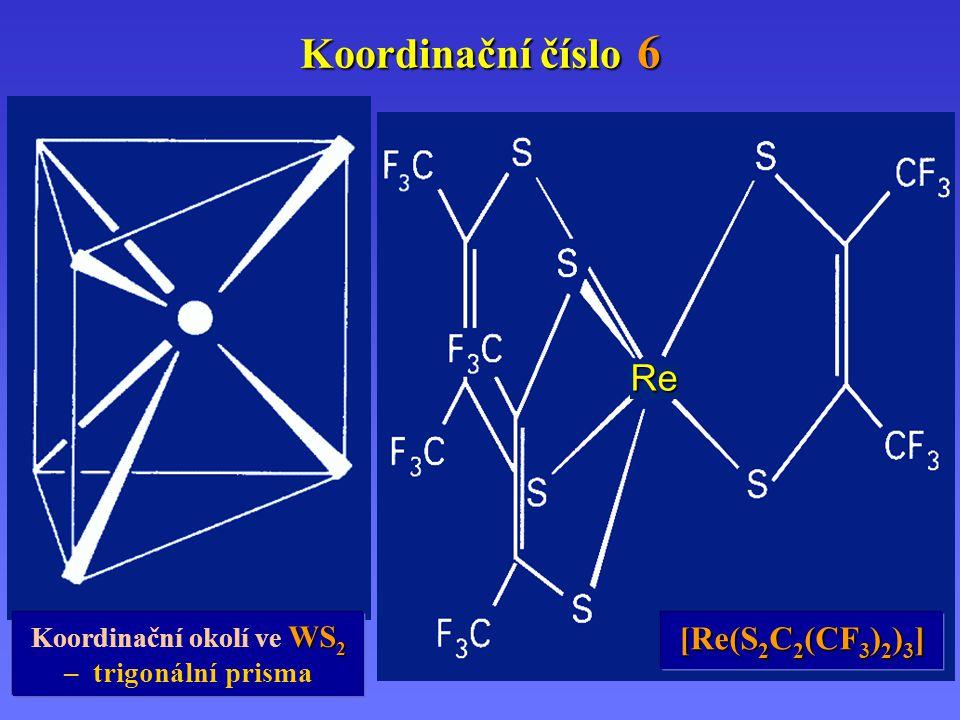Re Koordinační číslo 6 WS 2 Koordinační okolí ve WS 2 – trigonální prisma [Re(S 2 C 2 (CF 3 ) 2 ) 3 ]