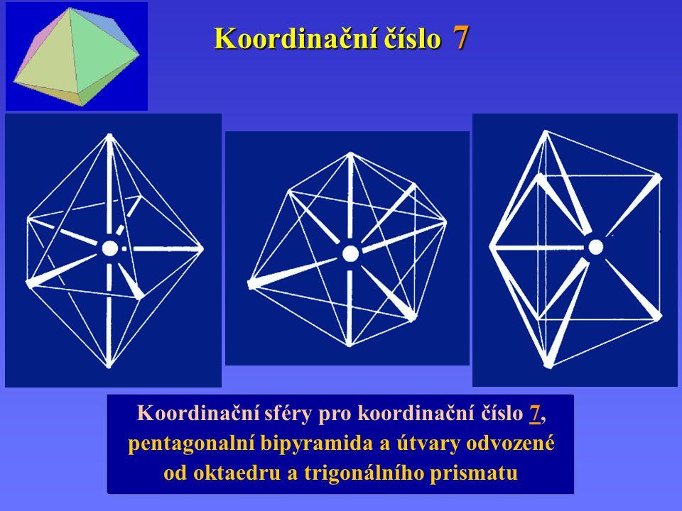 Koordinační číslo 7 Koordinační sféry pro koordinační číslo 7, pentagonalní bipyramida a útvary odvozené od oktaedru a trigonálního prismatu