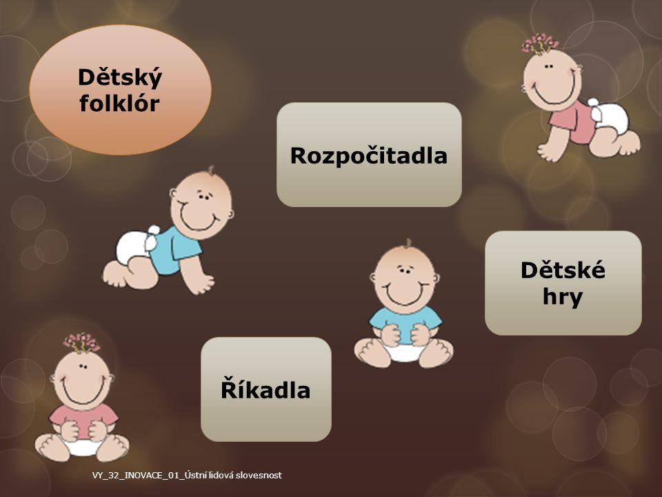 Dětský folklór Dětské hry Rozpočitadla Říkadla VY_32_INOVACE_01_Ústní lidová slovesnost