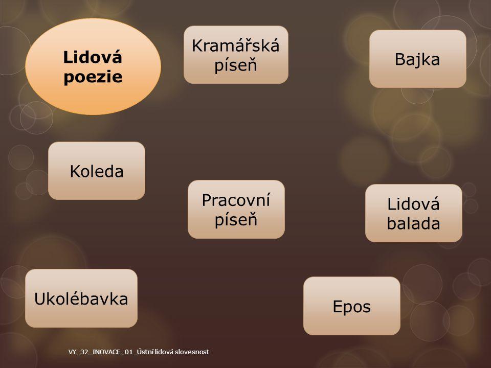 Lidová poezie Koleda Pracovní píseň Ukolébavka Epos Lidová balada Bajka Kramářská píseň VY_32_INOVACE_01_Ústní lidová slovesnost