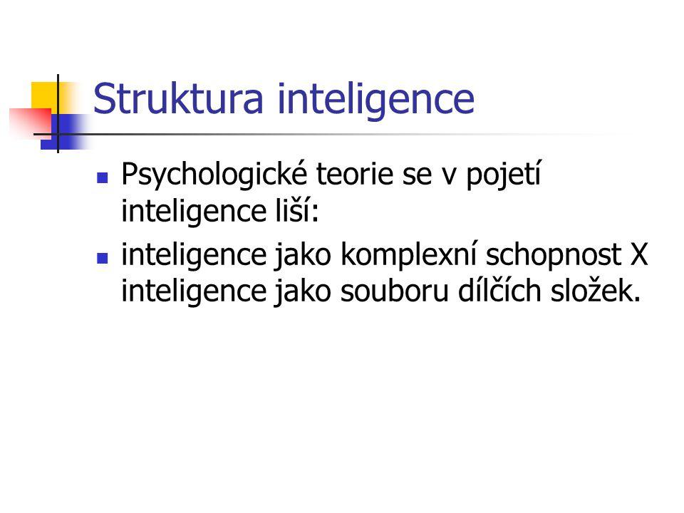 Struktura inteligence Psychologické teorie se v pojetí inteligence liší: inteligence jako komplexní schopnost X inteligence jako souboru dílčích slože