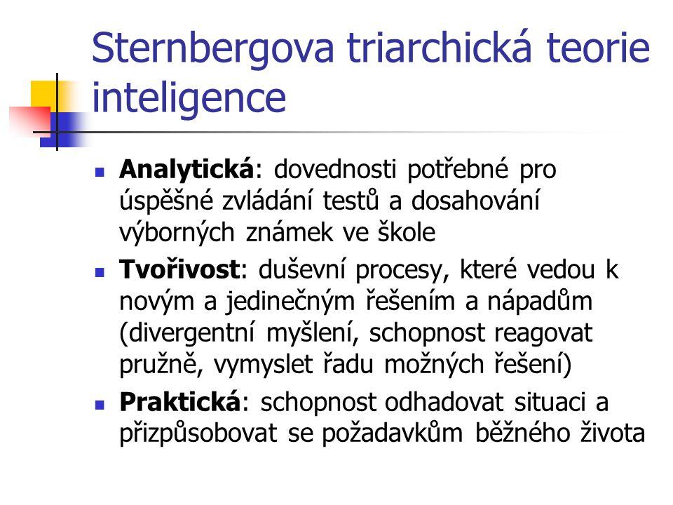 Sternbergova triarchická teorie inteligence Analytická: dovednosti potřebné pro úspěšné zvládání testů a dosahování výborných známek ve škole Tvořivos