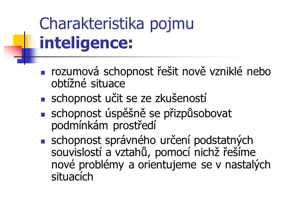 Charakteristika pojmu inteligence: rozumová schopnost řešit nově vzniklé nebo obtížné situace schopnost učit se ze zkušeností schopnost úspěšně se při