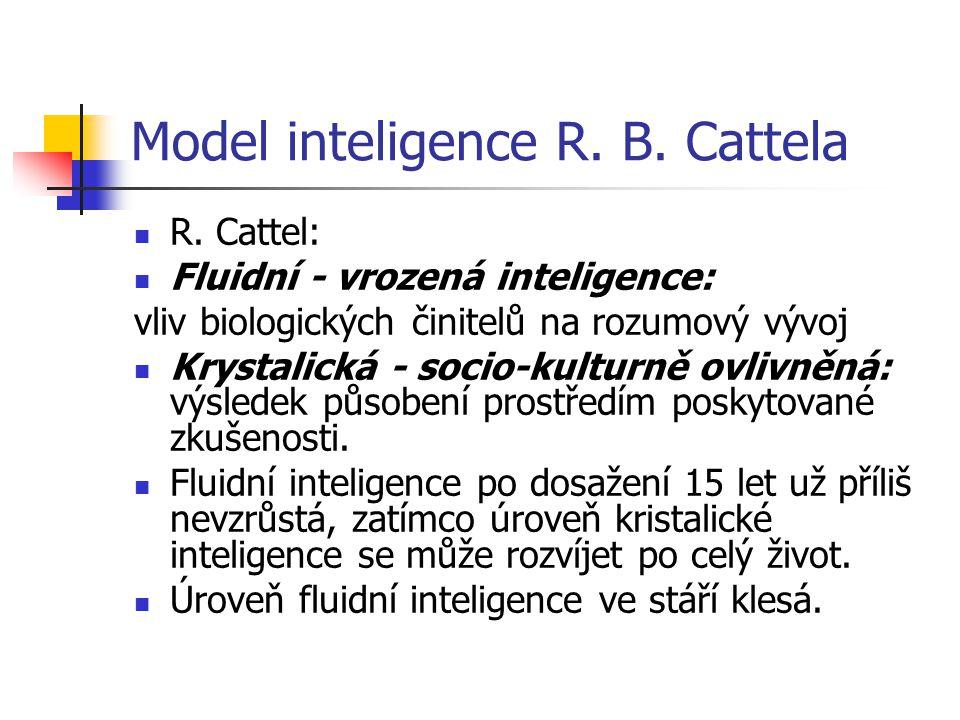 Model inteligence R. B. Cattela R. Cattel: Fluidní - vrozená inteligence: vliv biologických činitelů na rozumový vývoj Krystalická - socio-kulturně ov