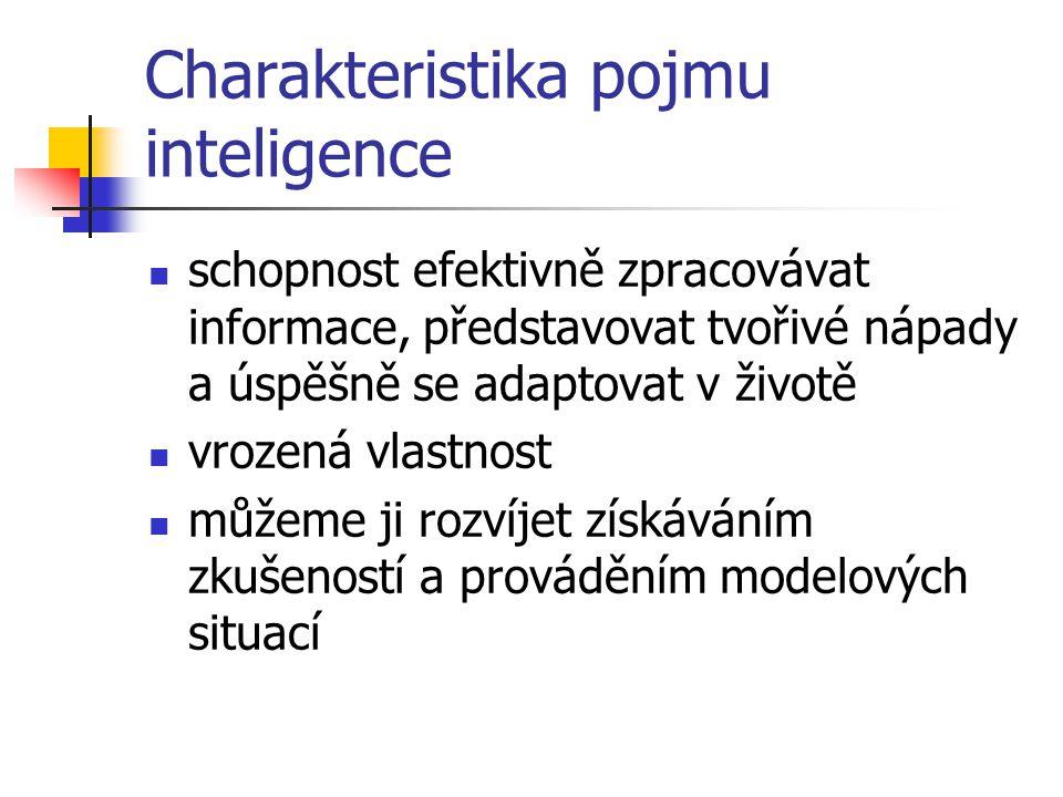 Inteligence Podmíněna biologickými faktory + vlivy prostředí (60-75%) Rozdílné zkušenosti různých etnických skupin Testy inteligence mohou spustit sebenaplňující se předpověď (podpoření/zpomalení rozvoje schopností žáků)