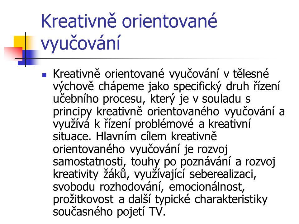 Kreativně orientované vyučování Kreativně orientované vyučování v tělesné výchově chápeme jako specifický druh řízení učebního procesu, který je v sou