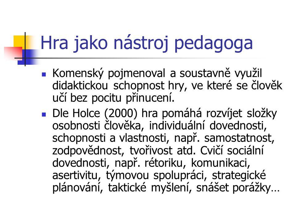 Hra jako nástroj pedagoga Komenský pojmenoval a soustavně využil didaktickou schopnost hry, ve které se člověk učí bez pocitu přinucení. Dle Holce (20