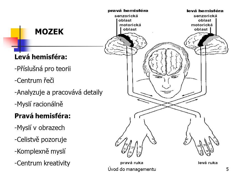 Úvod do managementu5 MOZEK Levá hemisféra: -Příslušná pro teorii -Centrum řeči -Analyzuje a pracovává detaily -Myslí racionálně Pravá hemisféra: -Mysl