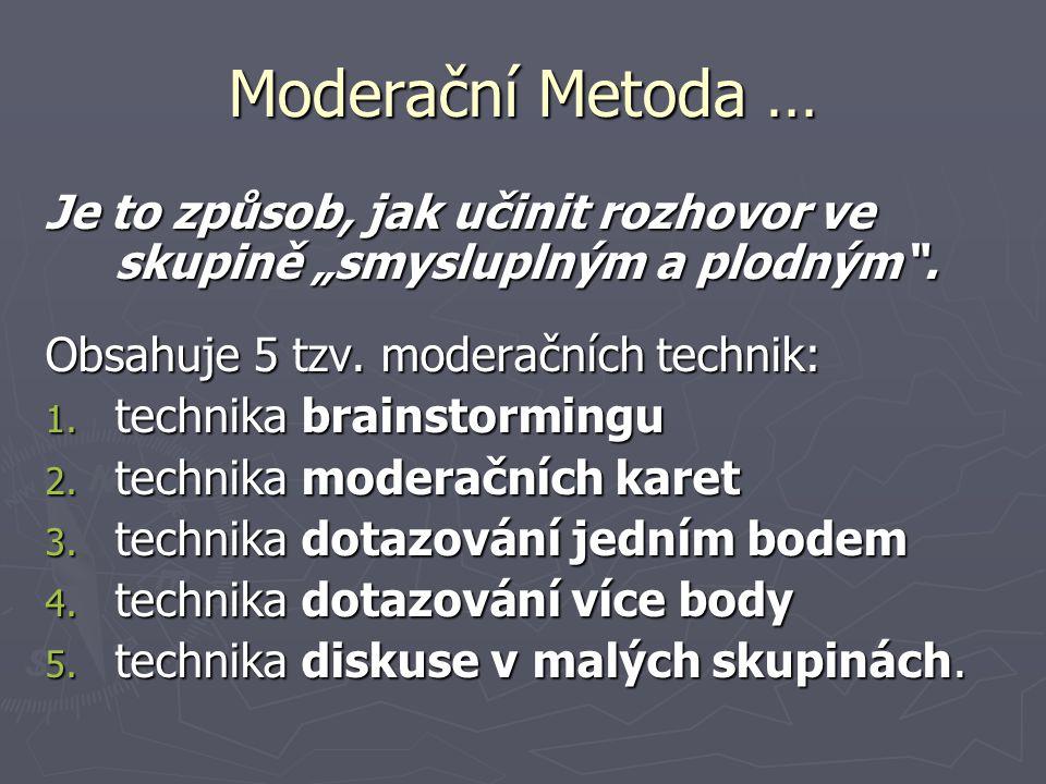 """Moderační Metoda … Je to způsob, jak učinit rozhovor ve skupině """"smysluplným a plodným"""". Obsahuje 5 tzv. moderačních technik: 1. technika brainstormin"""