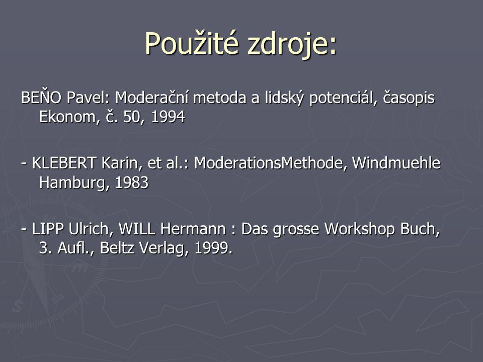 Použité zdroje: BEŇO Pavel: Moderační metoda a lidský potenciál, časopis Ekonom, č. 50, 1994 - KLEBERT Karin, et al.: ModerationsMethode, Windmuehle H