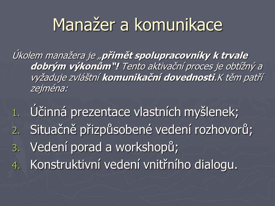 """Manažer a komunikace Úkolem manažera je """"přimět spolupracovníky k trvale dobrým výkonům ."""