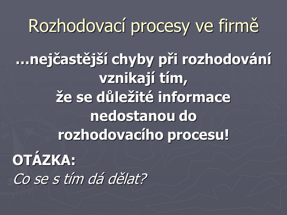 Rozhodovací procesy ve firmě …nejčastější chyby při rozhodování vznikají tím, že se důležité informace nedostanou do rozhodovacího procesu! OTÁZKA: Co