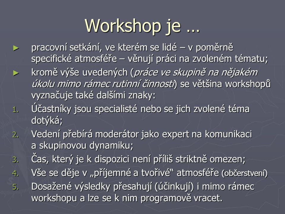 Workshop je … ► pracovní setkání, ve kterém se lidé – v poměrně specifické atmosféře – věnují práci na zvoleném tématu; ► kromě výše uvedených (práce
