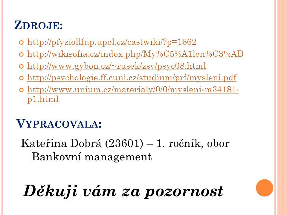 Z DROJE : http://pfyziollfup.upol.cz/castwiki/?p=1662 http://wikisofia.cz/index.php/My%C5%A1len%C3%AD http://www.gybon.cz/~rusek/zsv/psyc08.html http: