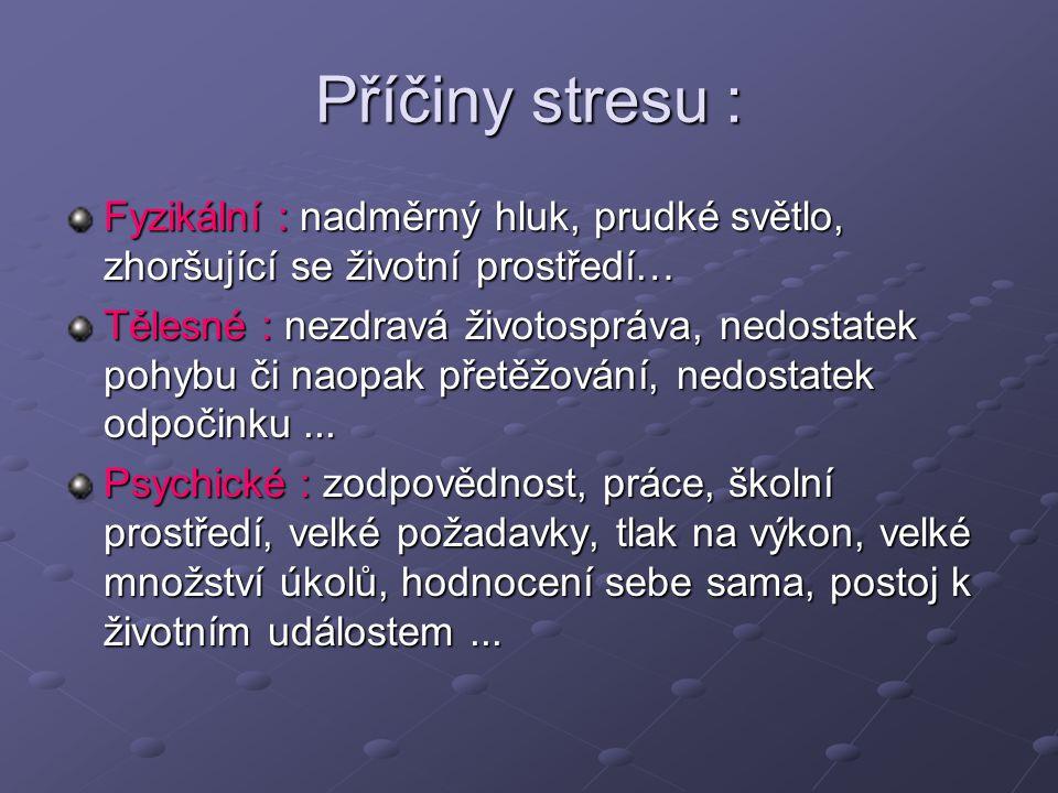 Příčiny stresu : Fyzikální : nadměrný hluk, prudké světlo, zhoršující se životní prostředí… Tělesné : nezdravá životospráva, nedostatek pohybu či naop