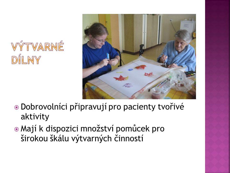 Dobrovolníci připravují pro pacienty tvořivé aktivity  Mají k dispozici množství pomůcek pro širokou škálu výtvarných činností