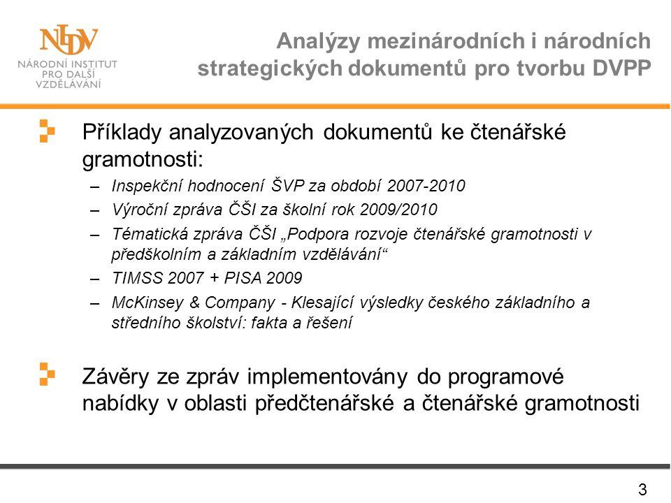 Analýzy mezinárodních i národních strategických dokumentů pro tvorbu DVPP 3 Příklady analyzovaných dokumentů ke čtenářské gramotnosti: –Inspekční hodn