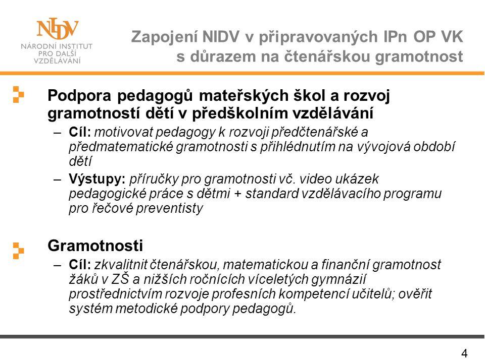 Zapojení NIDV v připravovaných IPn OP VK s důrazem na čtenářskou gramotnost 4 Podpora pedagogů mateřských škol a rozvoj gramotností dětí v předškolním
