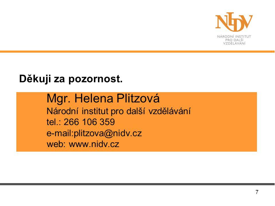 Mgr. Helena Plitzová Národní institut pro další vzdělávání tel.: 266 106 359 e-mail:plitzova@nidv.cz web: www.nidv.cz Děkuji za pozornost. 7