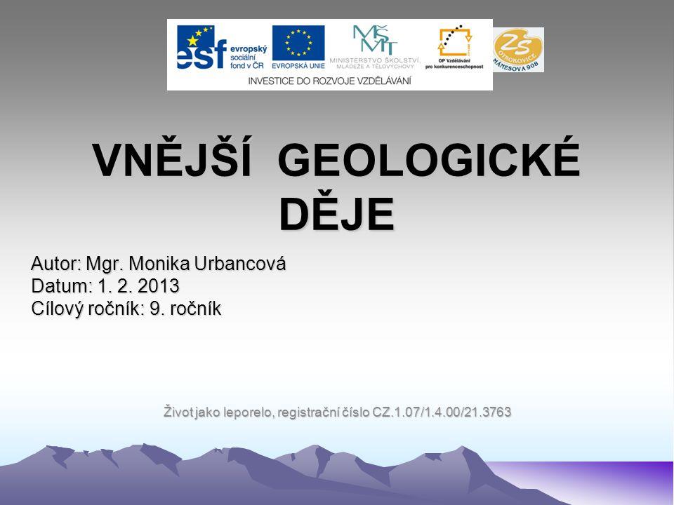 VNĚJŠÍ GEOLOGICKÉ DĚJE Autor: Mgr.Monika Urbancová Datum: 1.