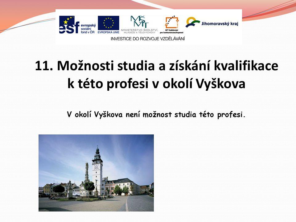 11. Možnosti studia a získání kvalifikace k této profesi v okolí Vyškova V okolí Vyškova není možnost studia této profesi.