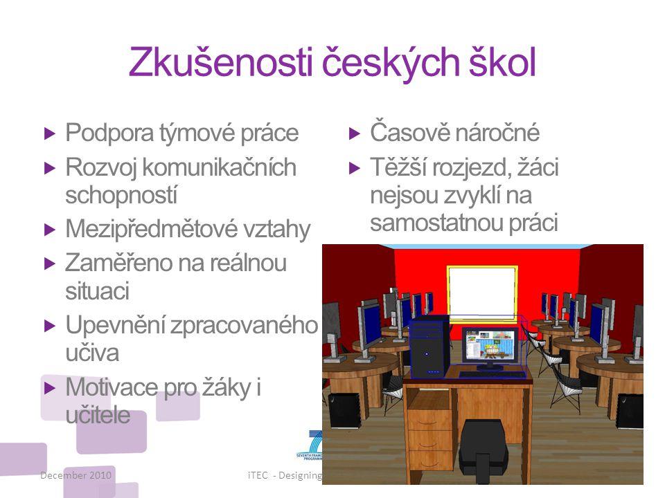 Zkušenosti českých škol  Podpora týmové práce  Rozvoj komunikačních schopností  Mezipředmětové vztahy  Zaměřeno na reálnou situaci  Upevnění zpra