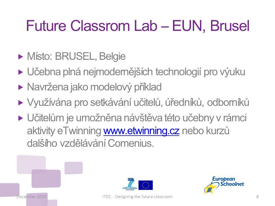 Future Classrom Lab – EUN, Brusel  Místo: BRUSEL, Belgie  Učebna plná nejmodernějších technologií pro výuku  Navržena jako modelový příklad  Využí