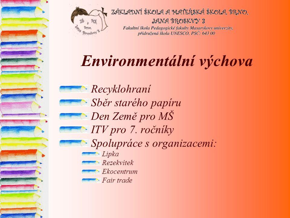 Environmentální výchova Recyklohraní Sběr starého papíru Den Země pro MŠ ITV pro 7.