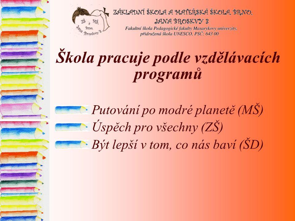 Škola pracuje podle vzdělávacích programů Putování po modré planetě (MŠ) Úspěch pro všechny (ZŠ) Být lepší v tom, co nás baví (ŠD)
