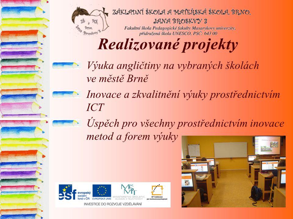Realizované projekty Výuka angličtiny na vybraných školách ve městě Brně Inovace a zkvalitnění výuky prostřednictvím ICT Úspěch pro všechny prostřednictvím inovace metod a forem výuky