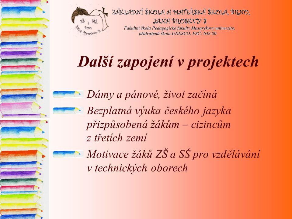 Další zapojení v projektech Dámy a pánové, život začíná Bezplatná výuka českého jazyka přizpůsobená žákům – cizincům z třetích zemí Motivace žáků ZŠ a SŠ pro vzdělávání v technických oborech