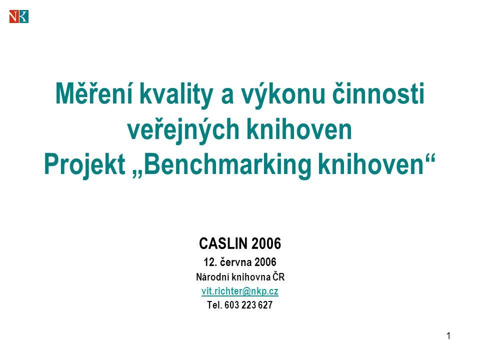 """1 Měření kvality a výkonu činnosti veřejných knihoven Projekt """"Benchmarking knihoven"""" CASLIN 2006 12. června 2006 Národní knihovna ČR vit.richter@nkp."""