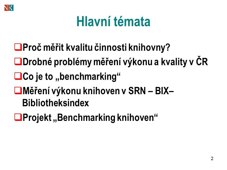 """43 Měření kvality a výkonu činnosti veřejných knihoven Projekt """"Benchmarking knihoven CASLIN 2006 12."""