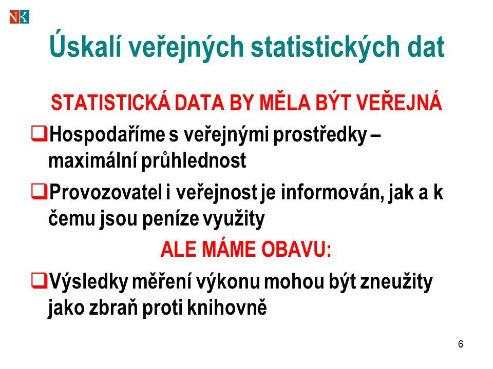 6 Úskalí veřejných statistických dat STATISTICKÁ DATA BY MĚLA BÝT VEŘEJNÁ  Hospodaříme s veřejnými prostředky – maximální průhlednost  Provozovatel
