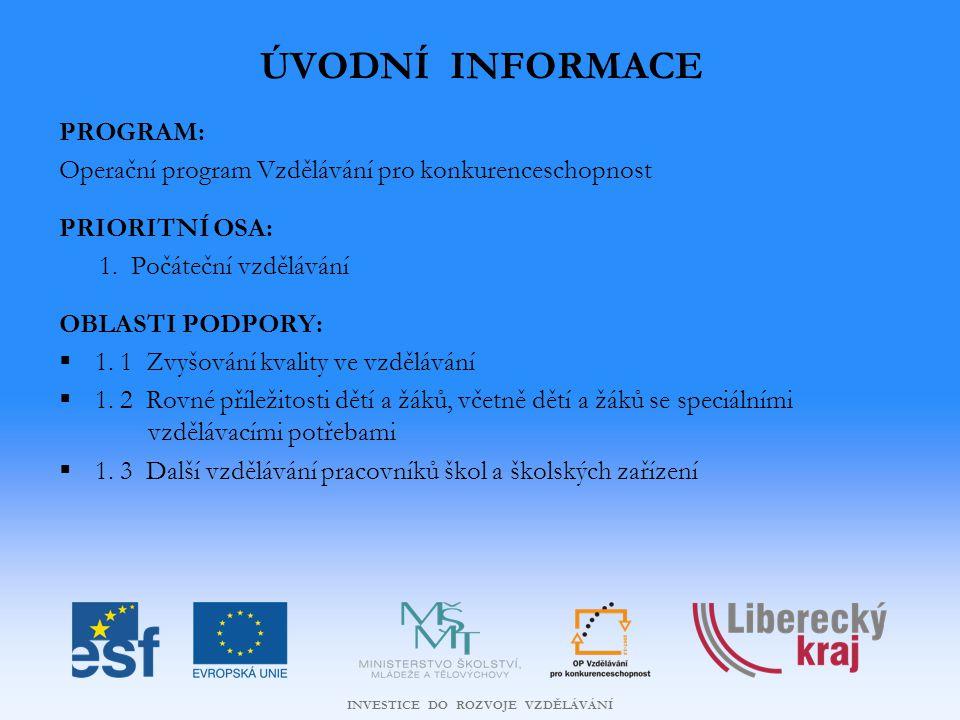 INVESTICE DO ROZVOJE VZDĚLÁVÁNÍ ÚVODNÍ INFORMACE PROGRAM: Operační program Vzdělávání pro konkurenceschopnost PRIORITNÍ OSA: 1.