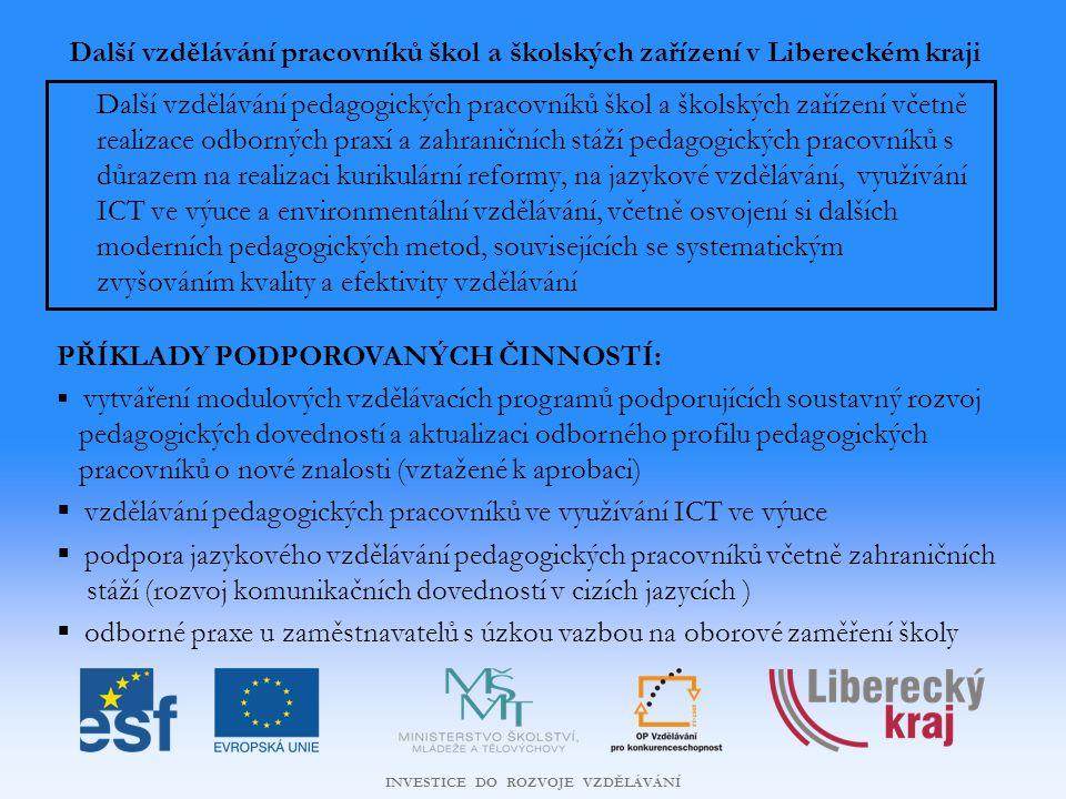 INVESTICE DO ROZVOJE VZDĚLÁVÁNÍ Další vzdělávání pracovníků škol a školských zařízení v Libereckém kraji Další vzdělávání pedagogických pracovníků škol a školských zařízení včetně realizace odborných praxí a zahraničních stáží pedagogických pracovníků s důrazem na realizaci kurikulární reformy, na jazykové vzdělávání, využívání ICT ve výuce a environmentální vzdělávání, včetně osvojení si dalších moderních pedagogických metod, souvisejících se systematickým zvyšováním kvality a efektivity vzdělávání PŘÍKLADY PODPOROVANÝCH ČINNOSTÍ:  vytváření modulových vzdělávacích programů podporujících soustavný rozvoj pedagogických dovedností a aktualizaci odborného profilu pedagogických pracovníků o nové znalosti (vztažené k aprobaci)  vzdělávání pedagogických pracovníků ve využívání ICT ve výuce  podpora jazykového vzdělávání pedagogických pracovníků včetně zahraničních stáží (rozvoj komunikačních dovedností v cizích jazycích )  odborné praxe u zaměstnavatelů s úzkou vazbou na oborové zaměření školy