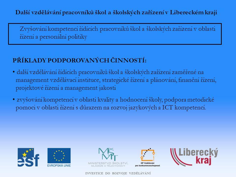 INVESTICE DO ROZVOJE VZDĚLÁVÁNÍ Další vzdělávání pracovníků škol a školských zařízení v Libereckém kraji Zvyšování kompetencí řídících pracovníků škol a školských zařízení v oblasti řízení a personální politiky PŘÍKLADY PODPOROVANÝCH ČINNOSTÍ: další vzdělávání řídících pracovníků škol a školských zařízení zaměřené na management vzdělávací instituce, strategické řízení a plánování, finanční řízení, projektové řízení a management jakosti zvyšování kompetencí v oblasti kvality a hodnocení školy, podpora metodické pomoci v oblasti řízení s důrazem na rozvoj jazykových a ICT kompetencí.