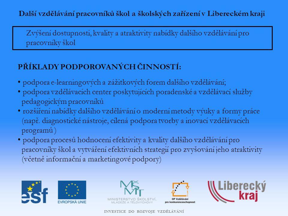 INVESTICE DO ROZVOJE VZDĚLÁVÁNÍ Další vzdělávání pracovníků škol a školských zařízení v Libereckém kraji Zvýšení dostupnosti, kvality a atraktivity nabídky dalšího vzdělávání pro pracovníky škol PŘÍKLADY PODPOROVANÝCH ČINNOSTÍ: podpora e-learningových a zážitkových forem dalšího vzdělávání; podpora vzdělávacích center poskytujících poradenské a vzdělávací služby pedagogickým pracovníků rozšíření nabídky dalšího vzdělávání o moderní metody výuky a formy práce (např.